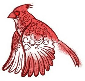 Flying northern cardinal machine embroidery design