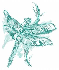Dragonfly sitting on branch machine embroidery design