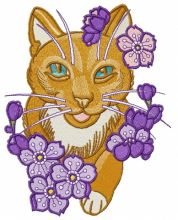 Kitty with purple flowers