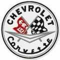 Chevrolet Corvette Racing Flag logo embroidery design