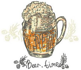Beer time machine embroidery design