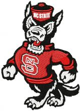 Walking angry wolf with NC State sweater