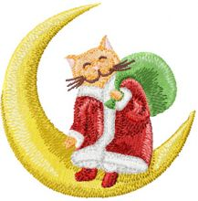 Christmas Cat sitting on a crescent moon