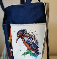 Embroidered women's bag with stylish bird design