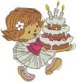 Little cute girl with cake embroidery design