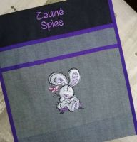 Embroidere pencil case with bunny design