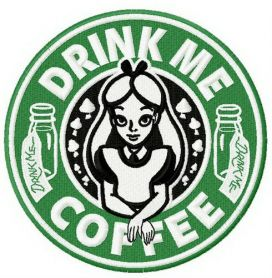 Drink me coffee machine embroidery design
