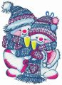 Merry Xmas snowmen embroidery design