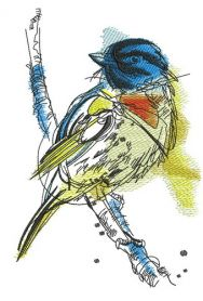 Robin bird machine embroidery design