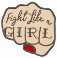 Fight like a girl fist embroidery design