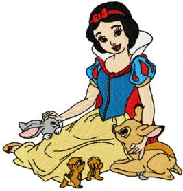 Snow White with friends machine embroidery design