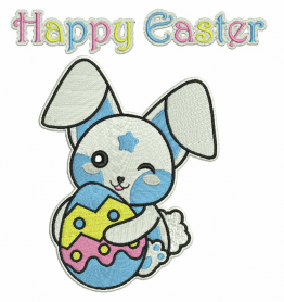 Happy Easter bunny machine embroidery design