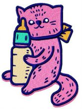Pink cat with baby bottle