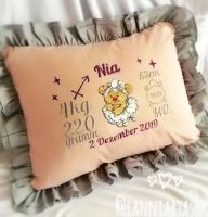 Embroidered pillow with teddy ballerina design
