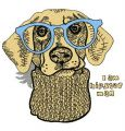 Hipster dog 2 embroidery design