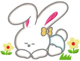 Cute bunny applique free embroidery design