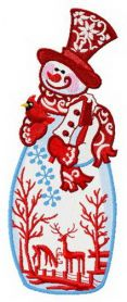 Stylish snowman machine embroidery design