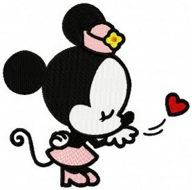 Minnie fell in love machine embroidery design