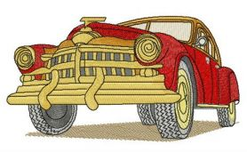 Red retro car machine embroidery design