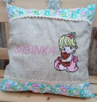 Embroidered pillow precious moments girl design