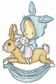 Bunnies are favourite toys machine embroidery design