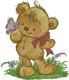 Teddy bear playing with butterfly machine embroidery design