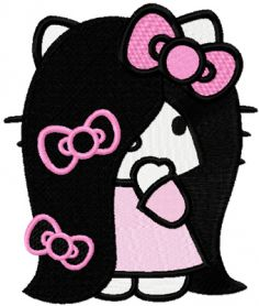 Hello Kitty Very Long Hair machine embroidery design