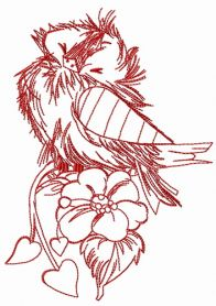 Ruffled sparrow one color machine embroidery design