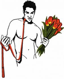 Man with flowers free embroidery design