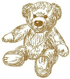 Old bear toy 6 machine embroidery design