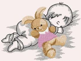 Baby with bunny toy free embroidery design