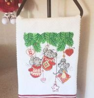 Christmas gift embroideredtowel with mice in mittens design