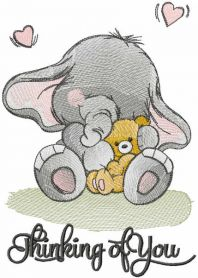 Baby elephant with small toy embroidery design