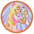 Princess with cute kitten 3 embroidery design