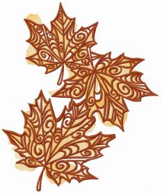 Maple leaves machine embroidery design