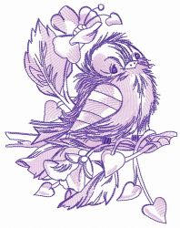 Sad sparrow purple gamma embroidery design