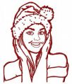 Girl in Santa hat 2 embroidery design