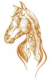 Horse with floral pattern machine embroidery design