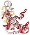 Musical humming-bird embroidery design