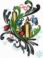 Candles on the Christmas tree embroidery design