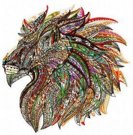 Mosaic lion machine embroidery design