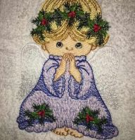 Cute embroidery design praying angel with white wings