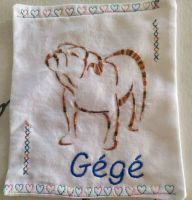 Embroidered napkin with bulldog free design