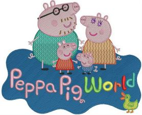 Peppa Pig world machine embroidery design