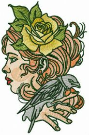 Lady with raven machine embroidery design