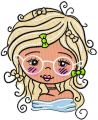 Blonde in glasses embroidery design