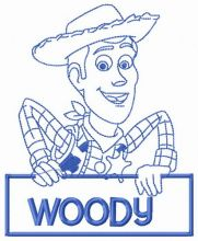 Woody with sign