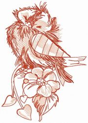 Funny ruffled sparrow embroidery design
