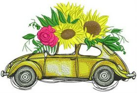 Volkswagen Beetle with sunflowers machine embroidery design