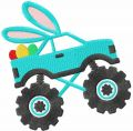 Easter Bunny truck embroidery design